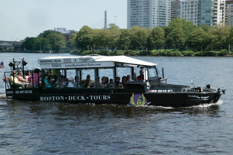 Close-up shot of a Boston Duck tour in progress