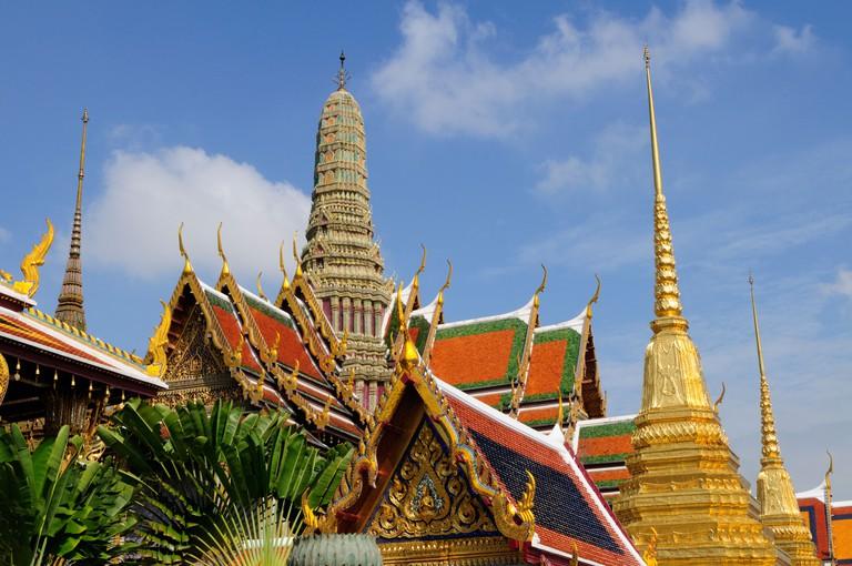 Thailand; Bangkok; Grand Palace; Wat Phra Kaew Roof detail and Golden Chedi