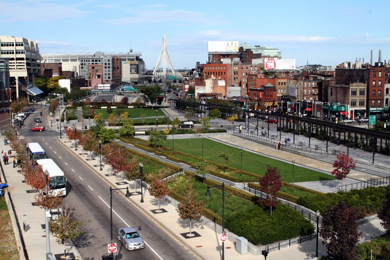 Rose Fitzgerald Kennedy Greenway is a greenery-filled landscape replacing a highway in Boston, Massachusetts.