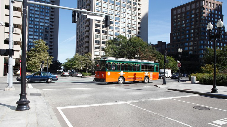 Old Town Trolley Bus Taking Visitors on a tour of Boston