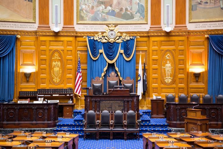 Massachusetts State House interior in Boston, USA