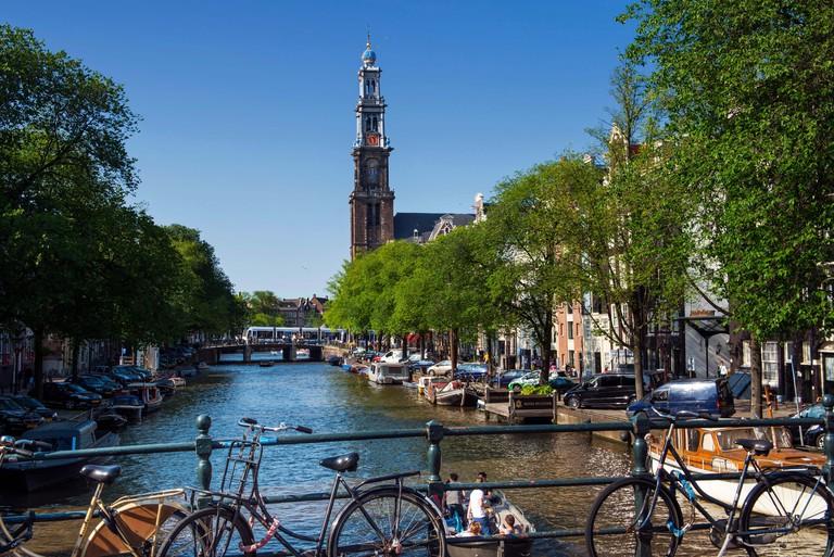 Westerkerk on Prinsengracht Canal, Amsterdam.
