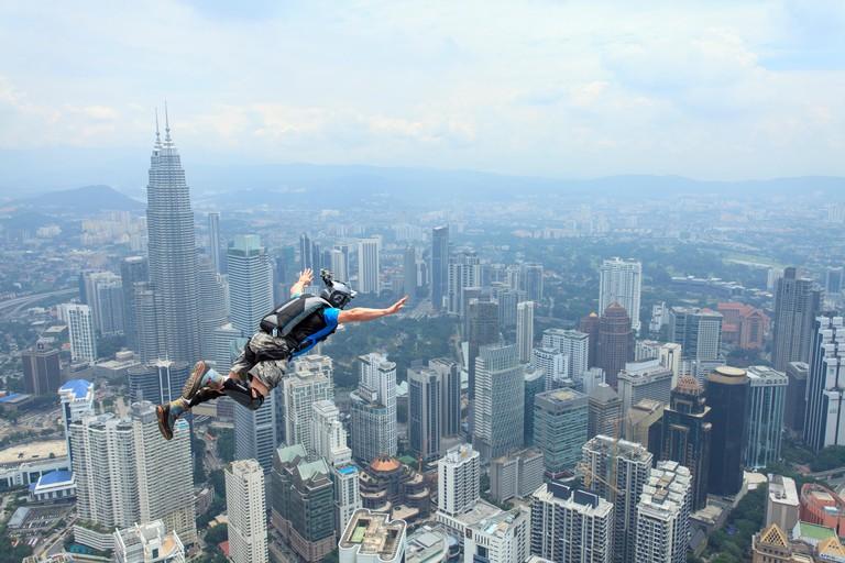 Kuala Lumpur International BASE Jump in KL Tower, Malaysia.