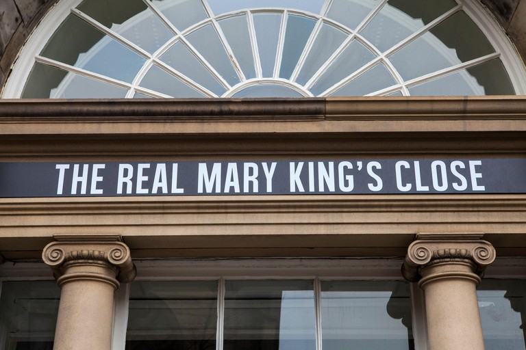 The sign above the entrance for the Real Mary Kings Close along the Royal Mile