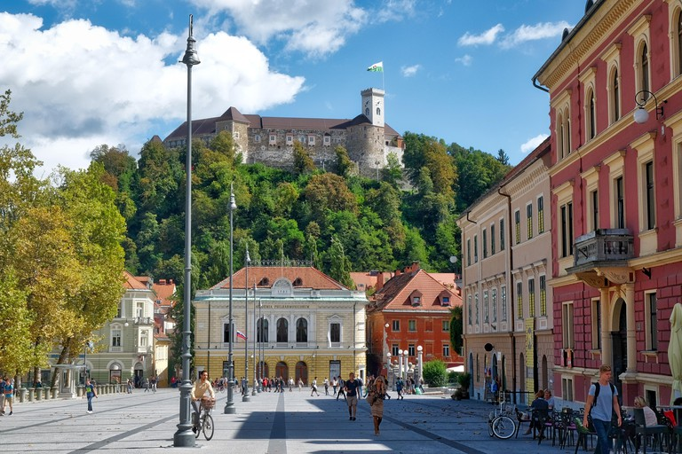 View of Congress Square, the  Slovenian Philharmonic Hall and the castle, Ljubljana, Slovenia. Image shot 09/2016. Exact date unknown.
