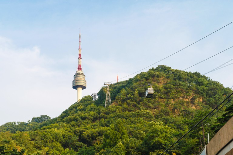 Cable car to N Seoul Tower  at namsan south korea