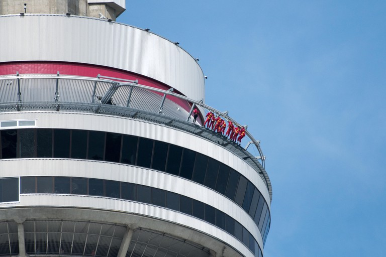 Toronto, Canada: CN Tower detail or details during the day