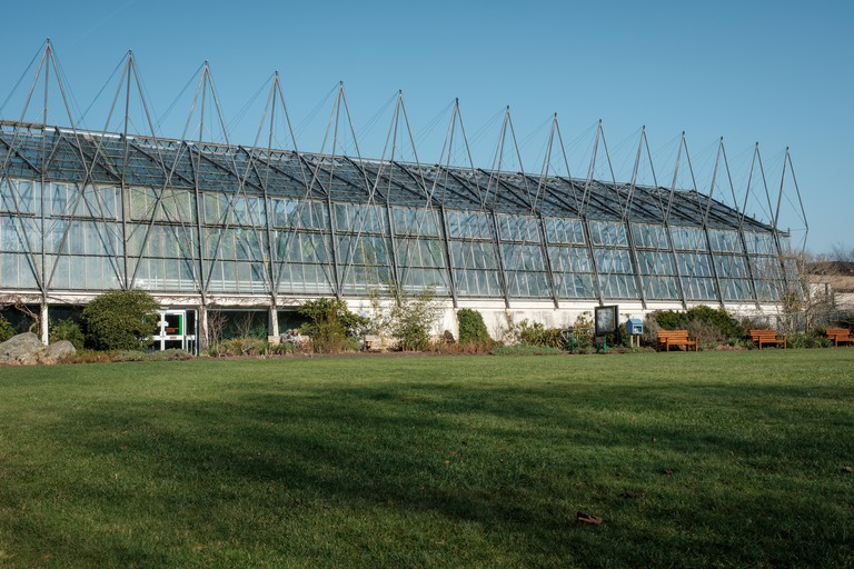 Exterior of the glasshouse at the Royal Botanic Garden on a sunny day, Edinburgh, Scotland. The glasshouses at the Royal Botanic Garden Edinburgh have over 8,000 plants inside