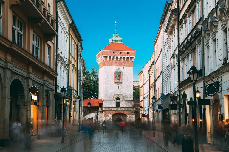 Krakow, Poland. View Of The Florianska Gate Krakow, the Medieval Florianska - St Florin's. UNESCO World Heritage Site