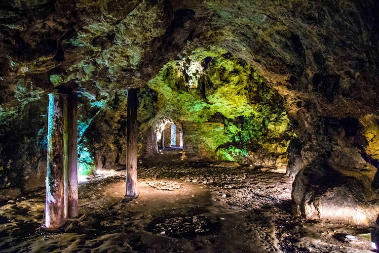 Dragon's Den (Smocza Jama) - a limestone cave in the Wawel Hill where the legendary dragon resided, Krakow, Poland
