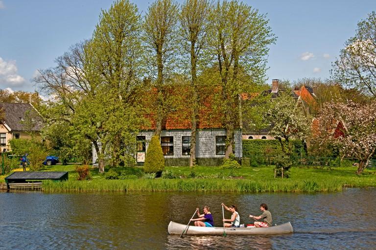 Canoeing in Waterland, Amsterdam.