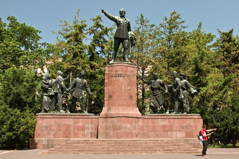 Lajos Kossuth Monument at KIossuth Ter (Kossuth plaza) near the Hungarian Parliament Building in Budapest.