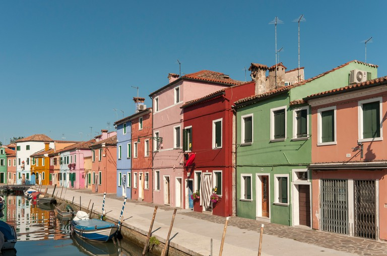 Canal with Boats, Burano, Venice.