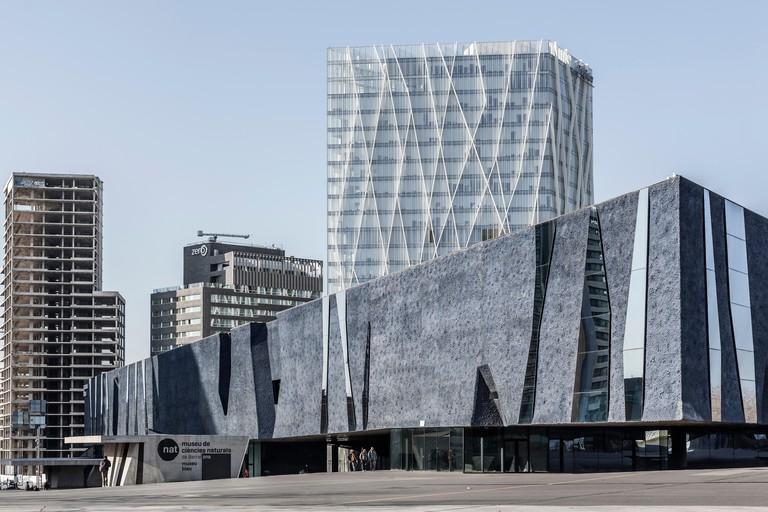 Reflective surfaces criss-cross the striking Museu Blau