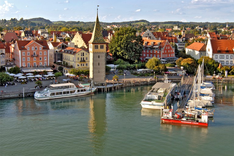 the famous historical old town of  Lindau, in Germany, with the harbour in the foreground. , Germany, Bavaria, Lindau