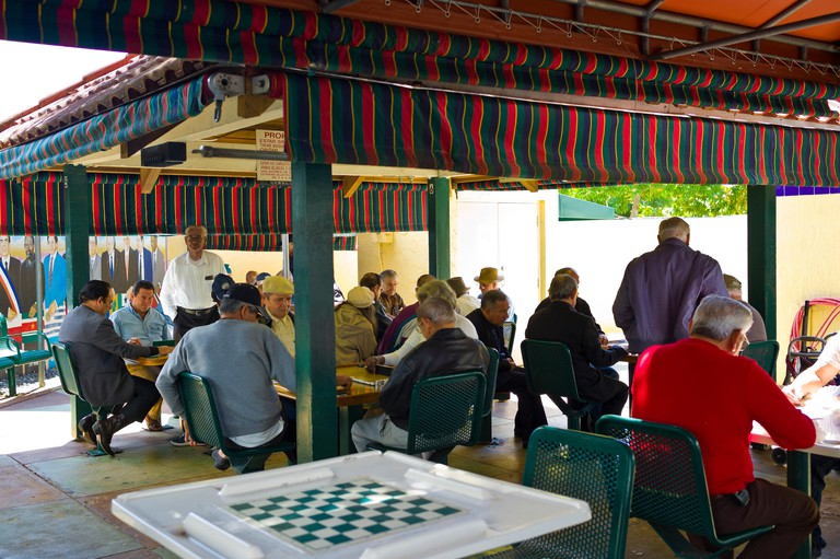 Domino Park (Parque del Domino). Miami. Florida. Little Havana's Domino Park is a gathering place for the Cuban community