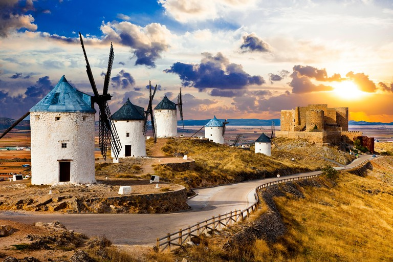 famous windmills of Don Quixote in  province of Toledo, Castile-La Mancha,Spain