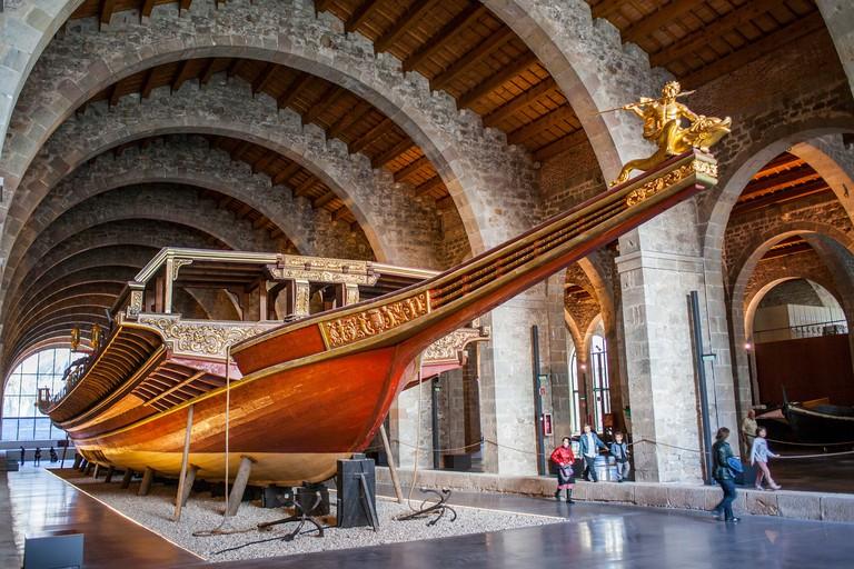 Don Juan from Austria's royal galley, Royal Shipyards, Maritime Museum, Drassanes, Catalonia, Spain