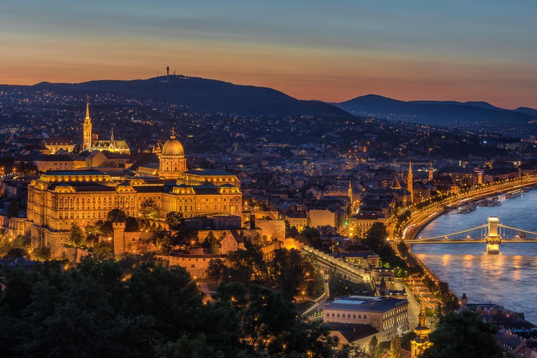 Buda Castle overlooking the Danube River in Budapest Hungary