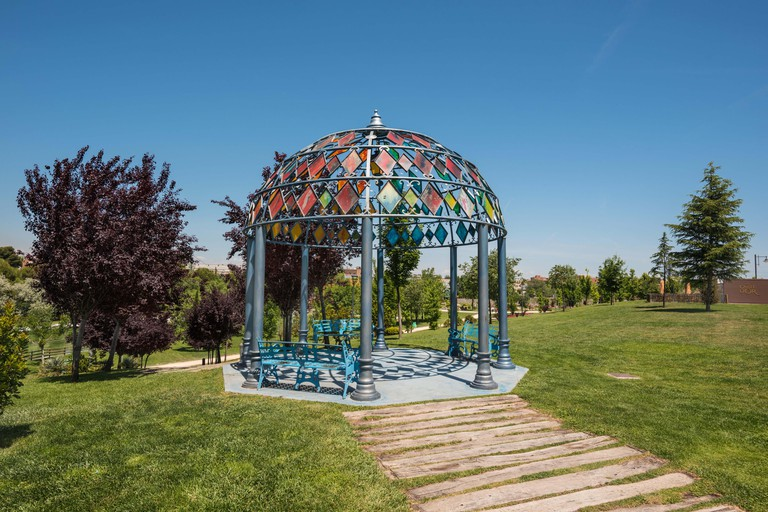 Europa park in Torrejon de Ardoz, Madrid, Spain. Its an urban park where are represented with scaled monuments the most famous european landmarks.