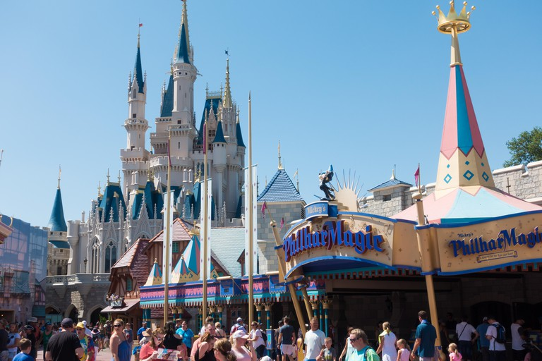 Entrance to Mickeys PhilharMagic show in Fantasyland, Magic Kingdom, Orlando, Florida.