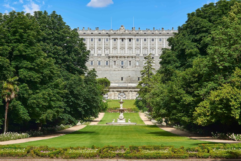 West facade of Royal Palace of Madrid (Palacio Real). View from Campo del Moro Gardens. Madrid, Spain.
