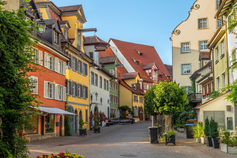 Meersburg, a town in the southwestern German state of Baden-Wurttemberg. On the shore of Lake Constance (Bodensee), it's surrounded by vineyards