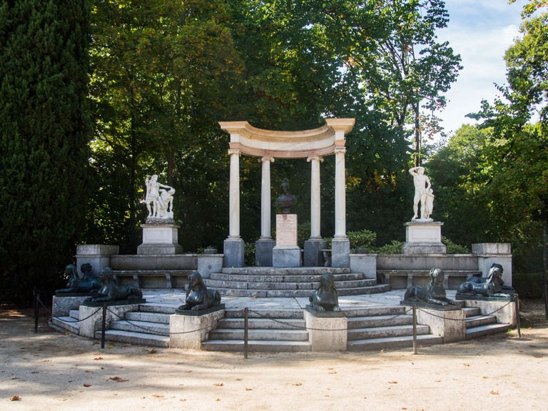 Stumble upon Greek columns at the Parque de El Capricho