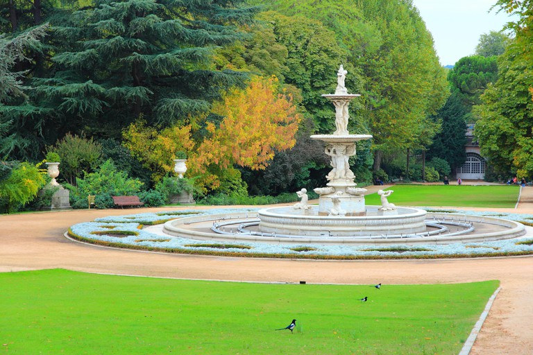 Madrid, Spain - park view in famous Sabatini Gardens (Jardines de Sabatini).