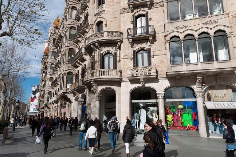 Numerous high-end boutiques line Passeig de Gràcia