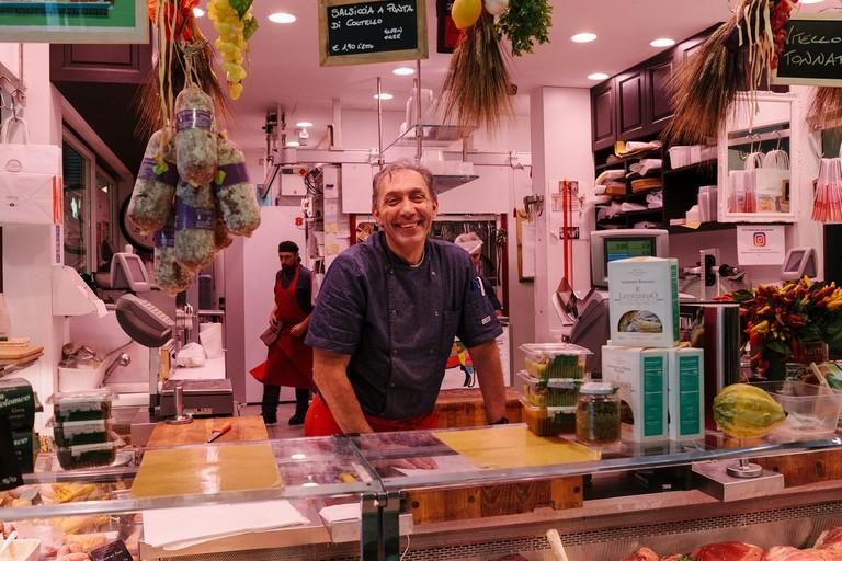Luca Menoni is the owner of Macelleria Menoni, which sits inside the Mercato di Sant'Ambrogio