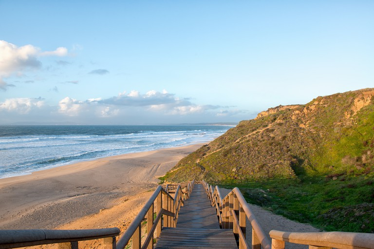 Meco beach entrance in Portugal