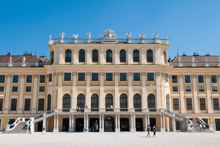 View of the south facing side of the Schonbrunn Palace in Vienna