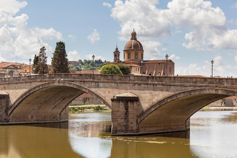 Ponte Alla Carraia Bridge, Santa Maria Del Carmine Church, and River Arno, Florence, Tuscany, Italy