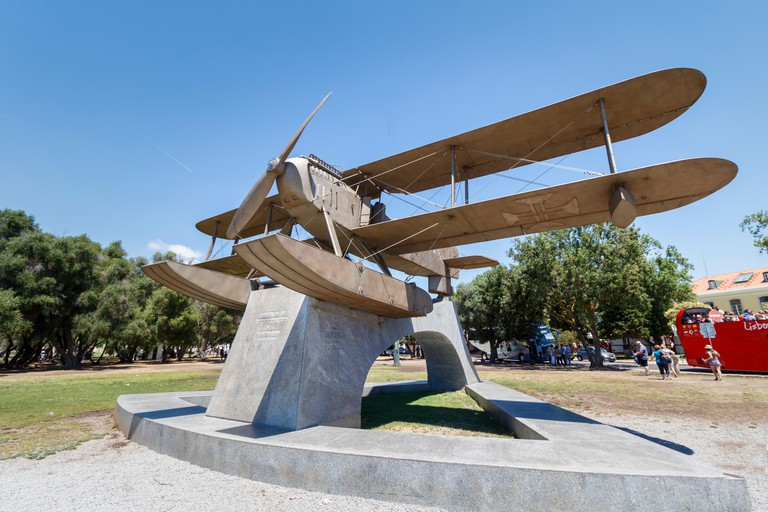 This seaplane monument in Belem marks the first aerial crossing of the South Atlantic and is an exact replica of the Fairey seap