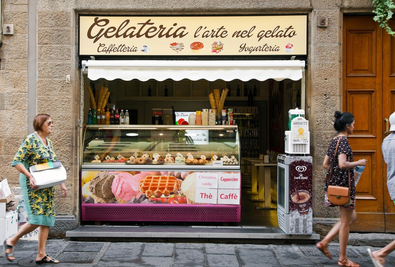 A gelateria, traditional Italian ice cream shop, in Florence