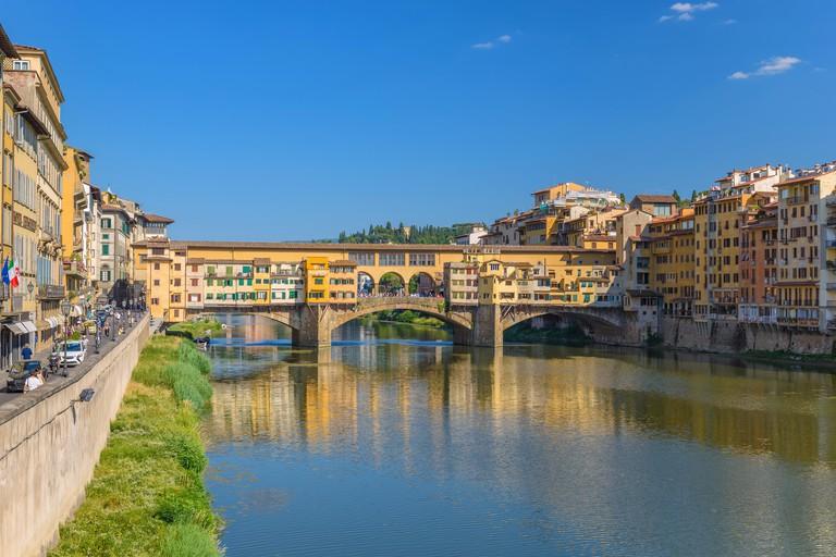 Ponte Vecchio and city skyline, Florence, Italy