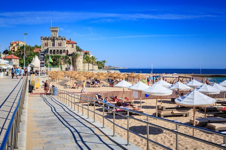 The Praia do Tamariz beach in Estoril- Cascais, Portugal