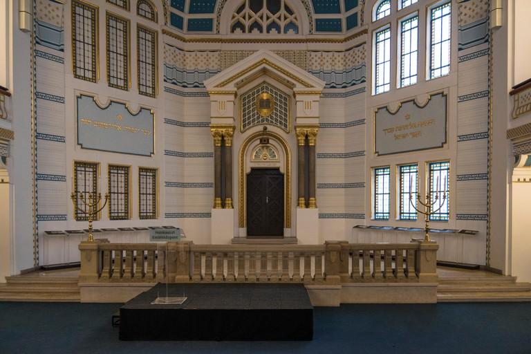 A former Jewish synagogue inside the Holocaust memorial center, Budapest.