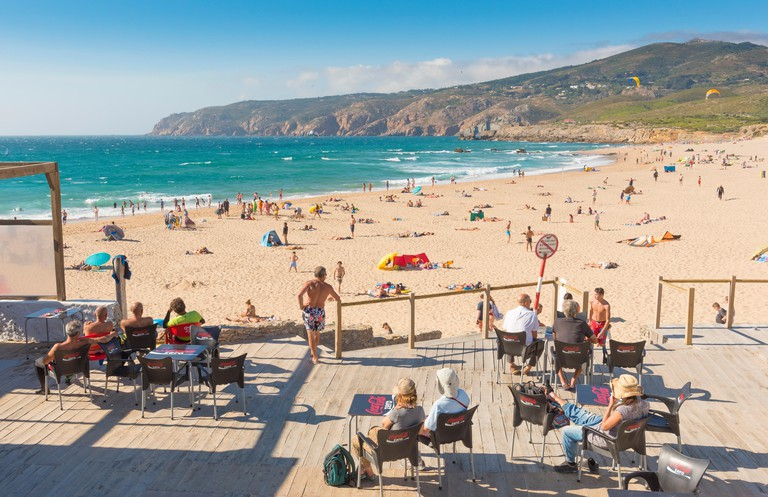 Praia do Guincho, Cascais, Portugal. Guincho Beach was used as a setting in a James Bond film