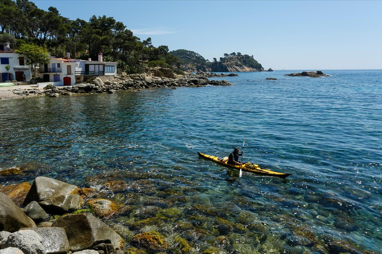 Kayaking along the Costa Brava, Cala S'Alguer, Spain