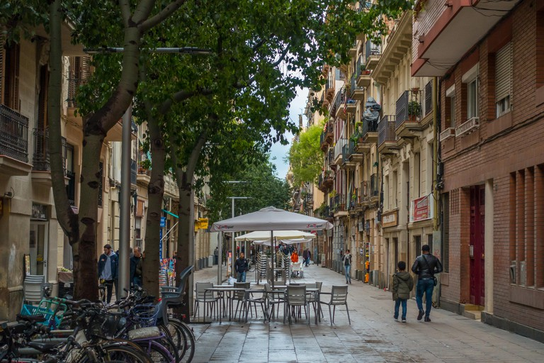 A view down Carrer de Blai in Barcelona.