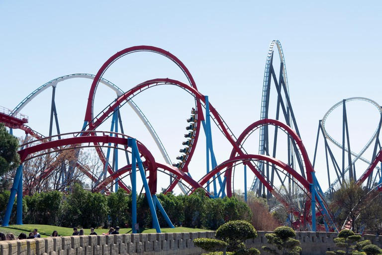 Shambhala and Dragon Khan roller coasters at Port Aventura World, Spain