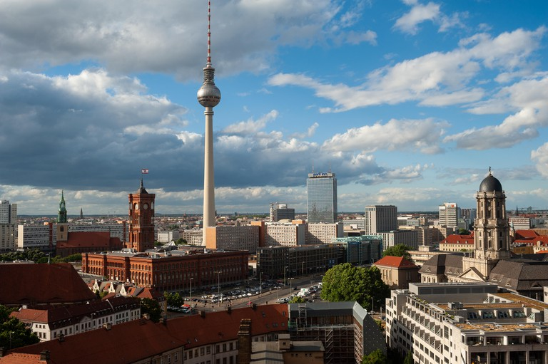A view of the city centre in Berlin Mitte with the TV tower at Alexanderplatz Square.