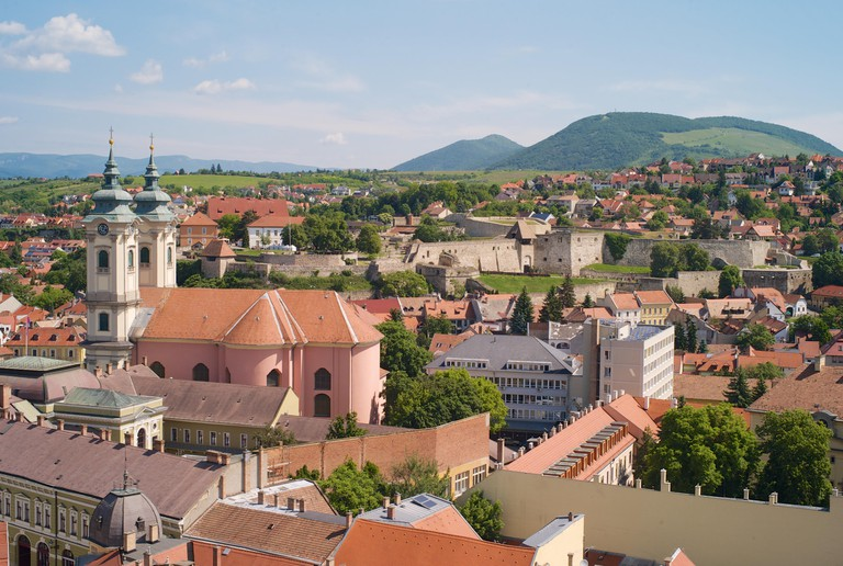 Cityscape of the Old Town of Eger, Hungary.
