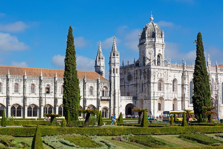 Lisbon, Portugal. The Mosteiro dos Jeronimos, or the Monastery of the Hieronymites. The monastery is considered a triumph of Manueline architecture an