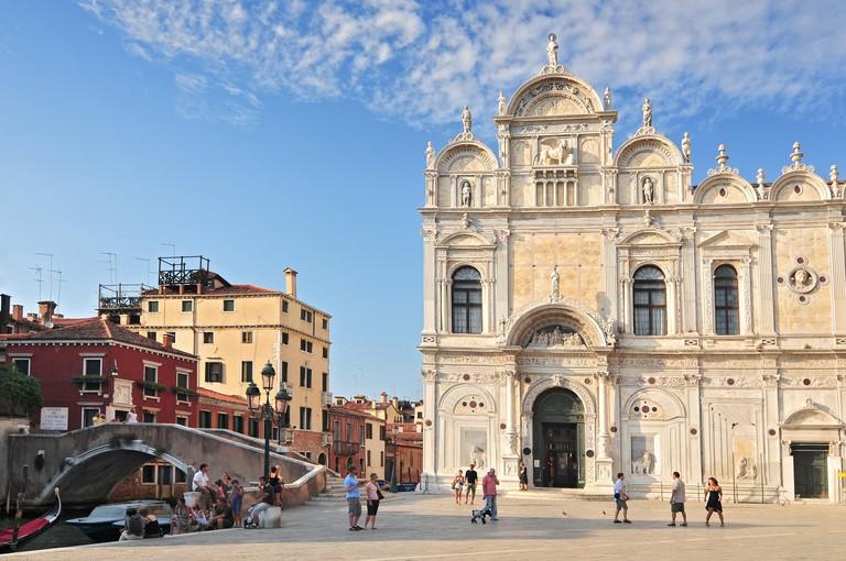 View Of The Scuola Grande Di San Marco Now Hospital In Venice Nearby The Basilica Of Santi Giovanni E Paolo Venice Italy