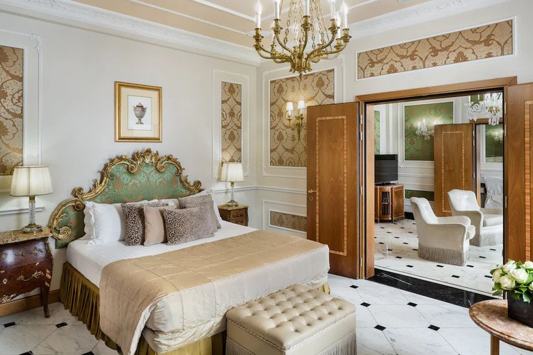 Many of the rooms and suites at the Baglioni Hotel Carlton have views of the Via della Spiga
