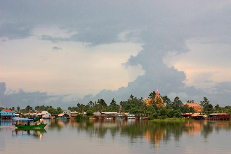 Kampot. Prek Kampong Bay River. Kampot RiverKampot's river, which is actually an estuary, in combination with the Bokor mountai