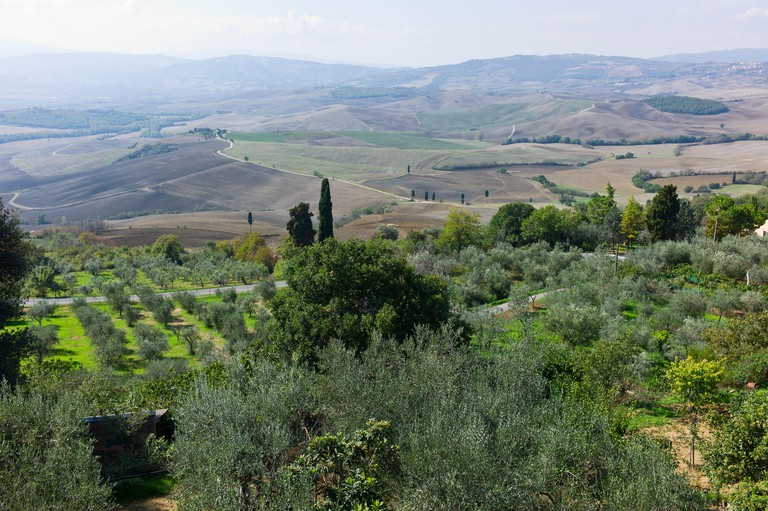 View overlooking the Val d'Orcia from Pienza, Tuscany, Italy.